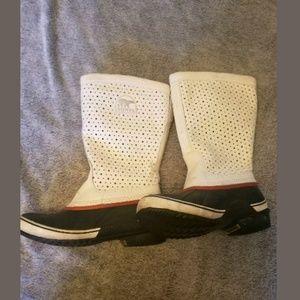 Sorel Sorelli White Leather Winter Boots Size 7